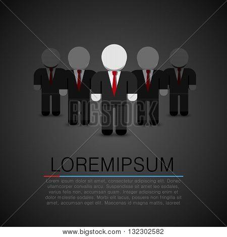 The Real Leader - Business Man in crowd. Leader art. Leader flat people. Vector illustration