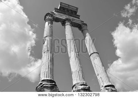 Ruins of the ancient Temple of Castor and Pollux (Dioskouri) in Roman Forum in the center of Rome
