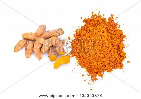 turmeric powder with turmeric root isolated on white