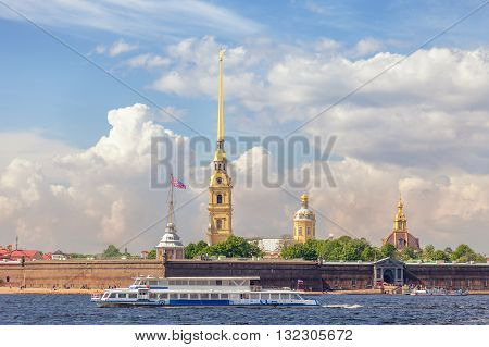 Peter and Paul Fortress sightseeing boat on the Neva river in St. Petersburg Russia