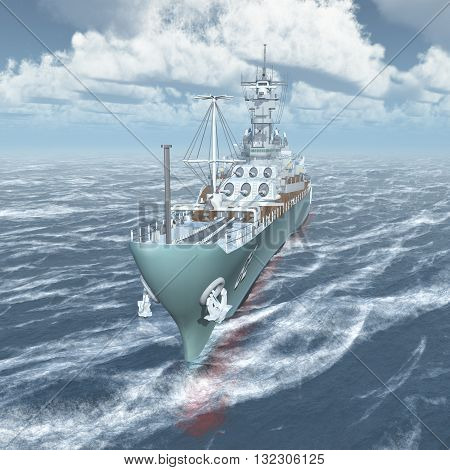 Computer generated 3D illustration with an American battleship of World War II in the stormy ocean