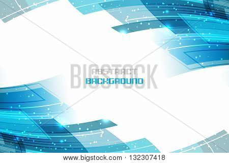 Business Vector Illustration With Blue Abstract Wavy Pattern, Glitter And Arrows.