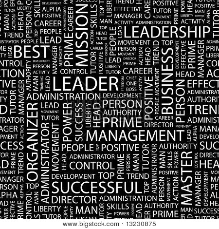LEADER. Seamless vector pattern with word cloud. poster