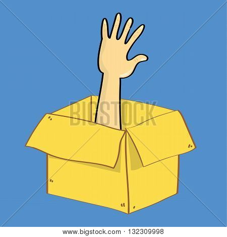 A hand reaches out of a cardboard box as if someone is trapped inside. A metaphor for escape or thinking outside th box