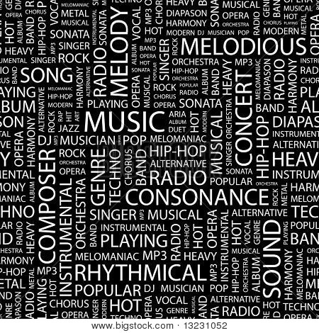 MUSIC. Seamless vector pattern with word cloud.