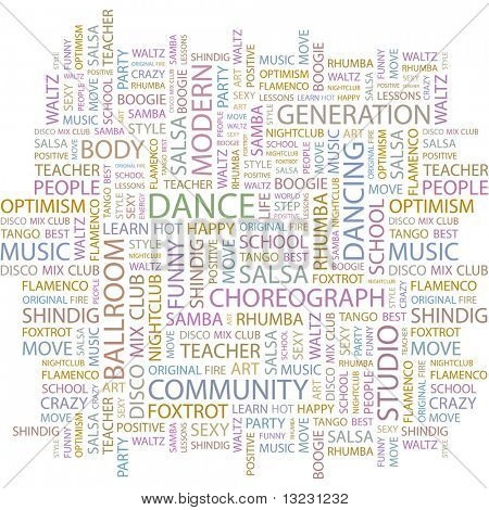 DANCE. Word collage on white background. Vector illustration.