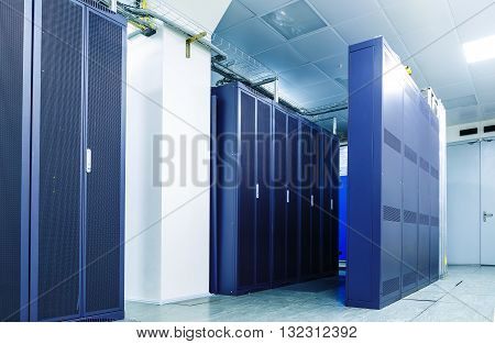 server communication equipment in the server room, data center
