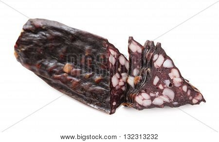 jerked sausage slices isolated on white background