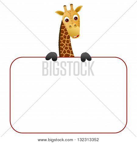 Cute cartoon giraffe holding a blank board