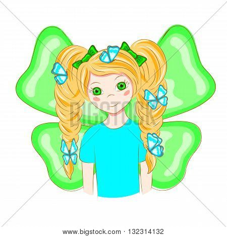 Cartoon girl with butterflies in her hair. The girl with the ponytails. Girl with butterfly wings. Sweet girl. T-shirt graphics. Vector illustration.