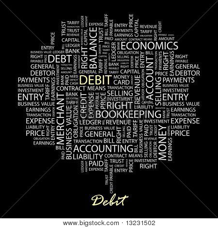 DEBIT. Word collage on black background. Vector illustration.