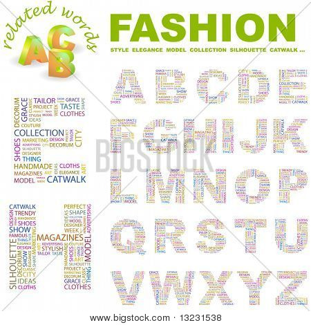 FASHION. Vector letter collection. Wordcloud illustration.