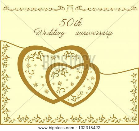 Fiftieth beautiful wedding invitation editable and scaleable vector illustration