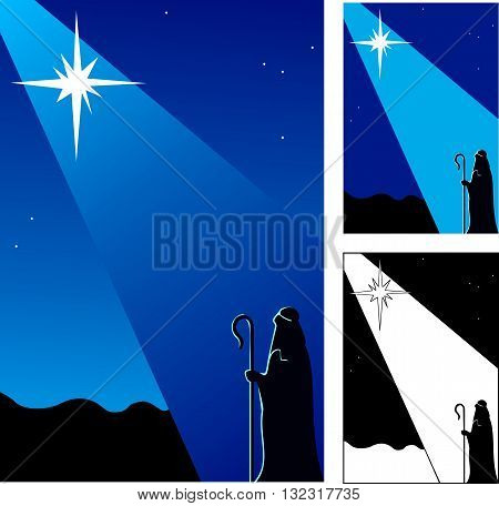 Star of Bethlehem announcing the birth of Christ to a shepherd in the field.