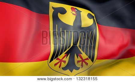 Germany flag waving in the wind 3d rendering