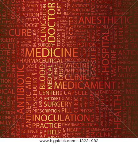 MEDICINE. Word collage. Vector illustration.