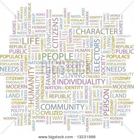 PEOPLE. Word collage on white background. Vector illustration.