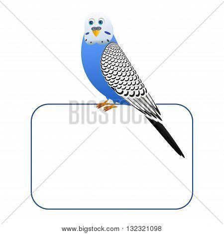 Blue cartoon bird on a blank board