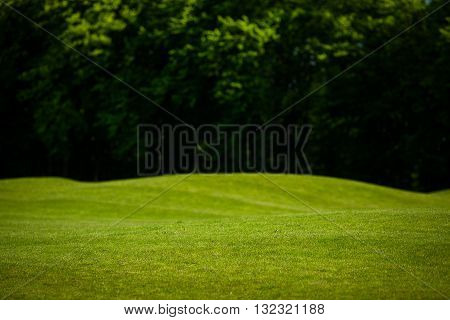 Amazing sunset on a golf-course. View nature landscape of beautiful golf course. Nice nature and environment with heavy forest or wood.