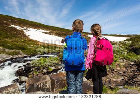 Children Hiking In Norway