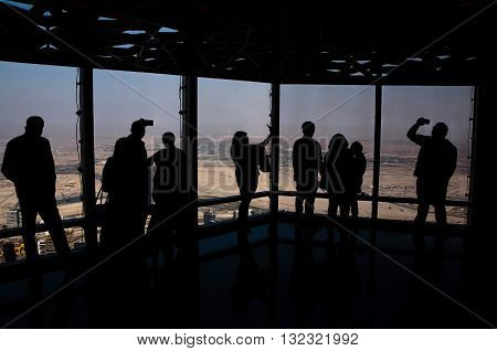 DUBAI, UAE - MAY 20, 2016: sightseeing of Dubai from At The Top Burj Khalifa tower
