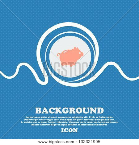 Piggy Bank Sign. Blue And White Abstract Background Flecked With Space For Text And Your Design. Vec