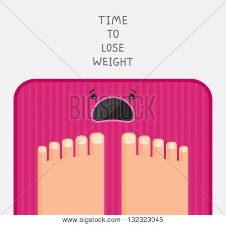 Feet are standing at pink bathroom scales with upset dial. Motivation to lose weight. Stylized drawing.