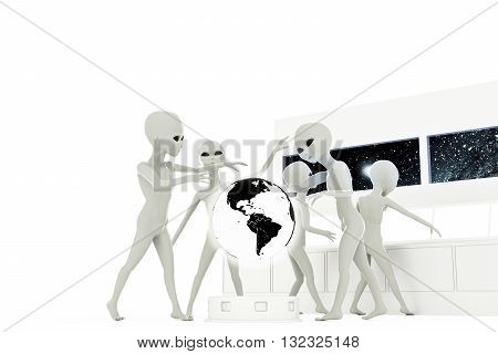 3d illustration of gray aliens isolated on white background