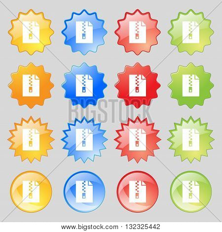 Computer Zip Folder, Archive Icon Sign. Big Set Of 16 Colorful Modern Buttons For Your Design. Vecto