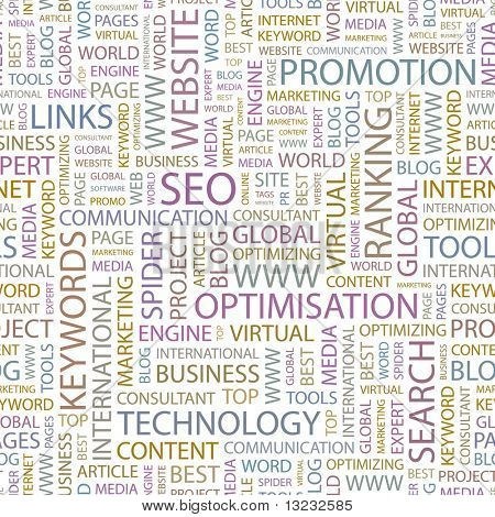 SEO. Seamless vector background. Wordcloud illustration.