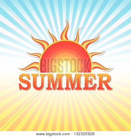 label with text summer and drawn sun in yellow red gradient and blue orange rays, vector