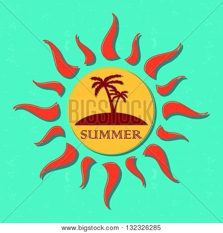 vintage label with text summer in drawn yellow sun with palms and orange rays over blue old paper background, vector
