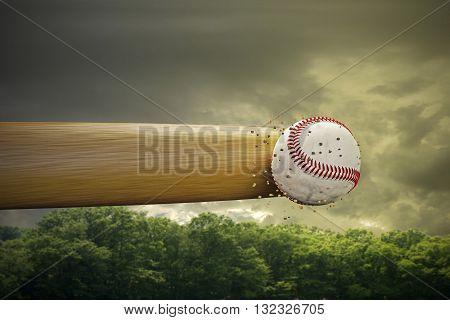 3d illustration of a baseball bat smashing a baseball ball