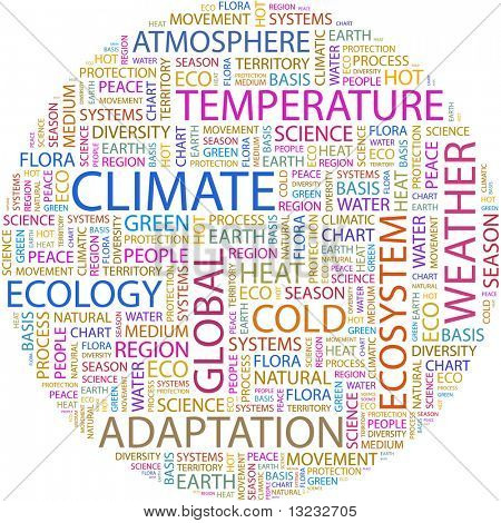 CLIMATE. Word collage on white background. Vector illustration. poster