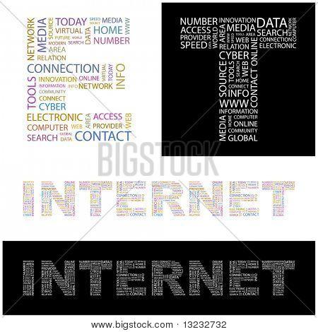 INTERNET. Word collage. Vector illustration.