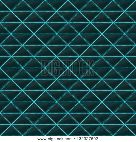 Triangles of black stone with blue streaks of energy. Seamless vector texture. Technology seamless pattern.Vector geometric dark background.