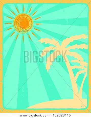 vintage summer label with drawn orange sun and beige palms silhouette over blue rays old paper background, vector