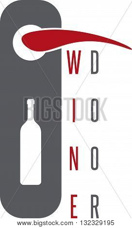 Wine Door Concept With Bottle Vector Design Template