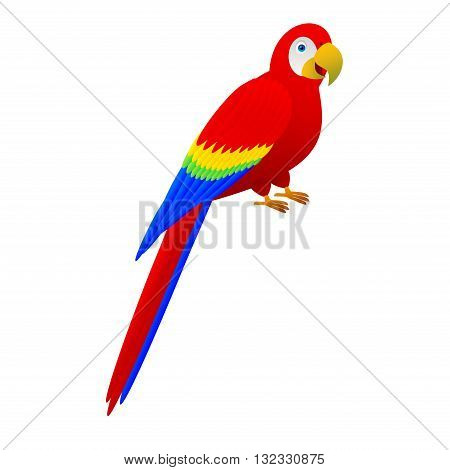 Cute cartoon red parrot. Bird character is smiling.