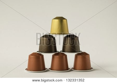 Collection of coffee pods against white background