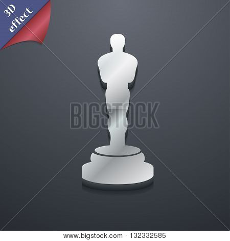 Oscar Statuette Icon Symbol. 3D Style. Trendy, Modern Design With Space For Your Text Vector