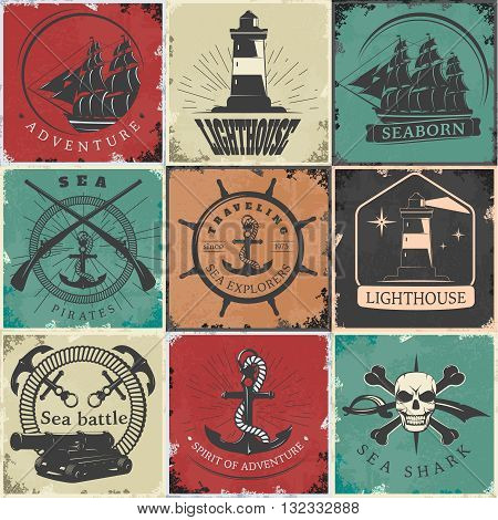 Sailing vintage stickers with lighthouse anchors rope skull sword ship gun bones rudder rays isolated vector illustration