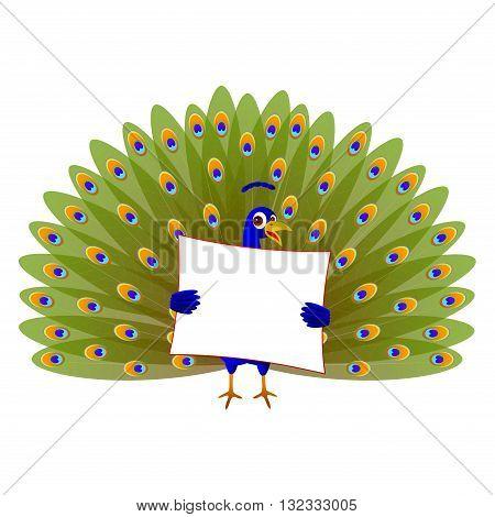 Cartoon animal peacock holding a blank board.