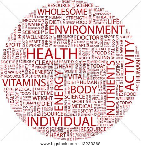 HEALTH. Word collage on white background. Illustration with different association terms. poster
