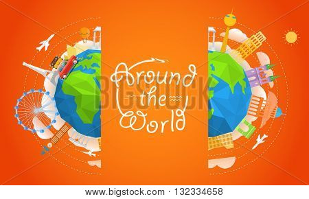 Travel vector illustration. Around the world concept. Travel booklet template