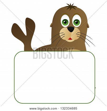 Cute cartoon seal with a blank board