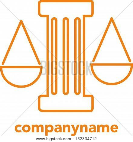 Lawyer logo with greece column. Concept of logo of lawyer in the form of scales and greece column.