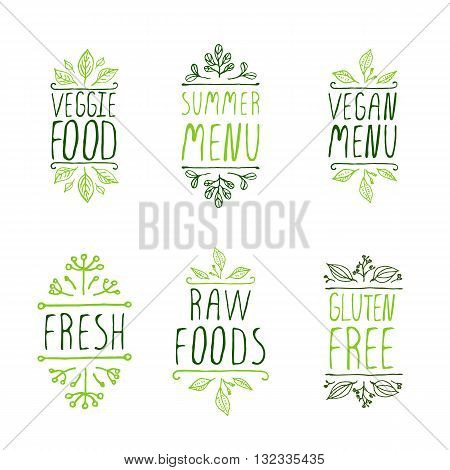 Restaurant labels. Suitable for ads, signboards, menu and web banner designs. Veggie food. Summer menu. Vegan menu. Fresh. Gluten free. Raw foods.