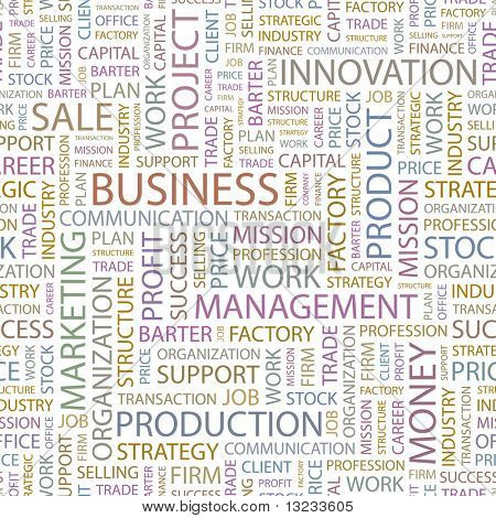 BUSINESS. Seamless vector pattern with word cloud. Illustration with different association terms.