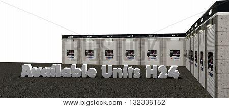 3d illustration of self storage units isolated on white background